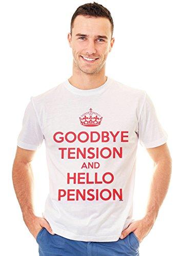 Retreez T-Shirt mit Aufdruck Goodbye Tension and Hello Pension - Weiß - X-Klein