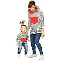 Sudaderas con capucha familiares, LILICAT Madre e hijos Baby Girl Matching Outfit, Mam y yo sudadera en forma de corazón (Madre XL, Madre Naranja)