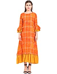 f4c194635 Myshka Rayon Orange A Line Kurti for Women