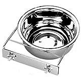 2 Stück 19 cm / 1,35 l Edelstahnapf Schraubbefestigung Hundenapf Wassernapf Futternapf Trinknapf Fressnapf mit Halterung für Hunde Napf