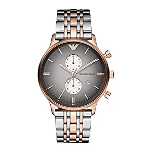 Emporio Armani Men's Watch - AR1721 -(AR1721 for Men in Formal Wear) - Silver & Rose Gold Band with Grey Dial - Stainless Steel
