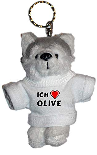 SHOPZEUS Plüsch Husky (Hund) Schlüsselhalter mit einem T-Shirt mit Aufschrift mit Ich Liebe Olive (Vorname/Zuname/Spitzname) Husky Olive