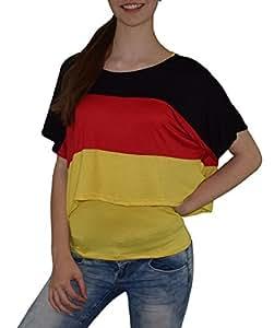 S&LU absolut angesagtes 2-teiliges Damen Deutschland-Fan-Flagtop Größe XS-L (gelb, XS-L)
