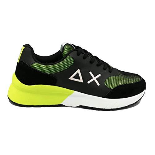 Sun 68 Scarpe da Uomo BZ19110 Sneakers Running Sportive Ginnastica in Pelle Nere Nero Giallo Fluo Calzature Jaki Mesh Shoes Nuove Comode Fondo Gomma Giallo, 45