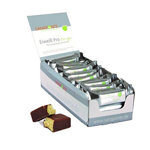 Sanaponte Eiweiß Pro to go Riegel 49% Protein (24 x 35g Riegel) Low Carb Protein Riegel Vanille Geschmack - Protein Bar - nur 129 kcal pro Riegel
