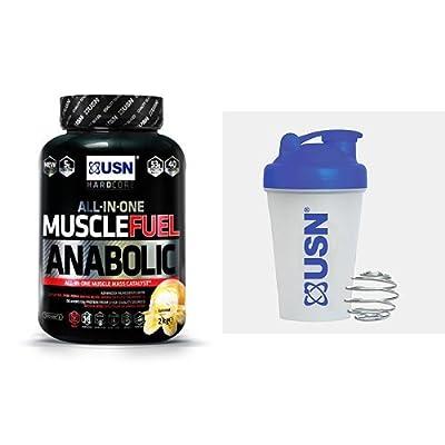 USN Muscle Fuel Anabolic Lean Muscle Gain Shake Powder, Banana, 2 kg with USN Metal Ball Mixer Shaker, 400 ml