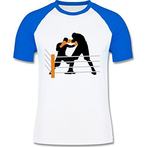 Kampfsport - Boxen im Ring Boxkampf - zweifarbiges Baseballshirt für Männer Weiß/Royalblau
