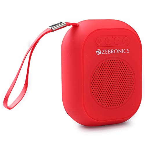 Zebronics Zeb-SAGA Ultra Portable BT Speaker with mSD, USB, AUX, FM & Mic (Red)