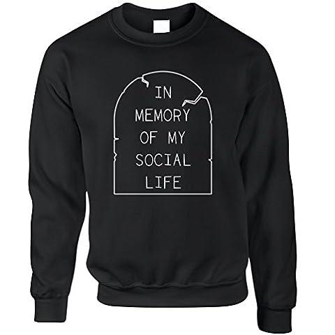 In Memory Of My Soziales Leben Funny Anti Social Slogan Kühlen Unisex-Pullover