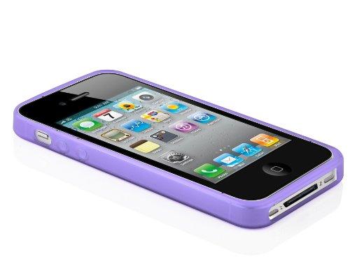 Apple iPhone 4 / 4G / 4S Silikon-Hülle in SCHWARZ von Cadorabo - X-Line Design TPU Schutz-hülle – Handy-hülle Bumper Case Cover in OXID-SCHWARZ FLIEDER-VIOLETT