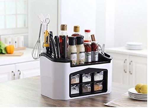 XTe-SM Regal Küche Gewürz Aufbewahrungsbox Regal Gewürzregal Gewürzmesserhalter Öl Salz Soße Essig Lagerregal
