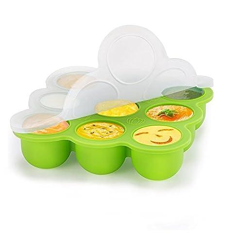 YISSVIC Récipient Bébé Pots de Conservation 9 pots Repas en Silicone pour Bébé Sûrement et Muti-Fonction Congélation Sans BPA pour les Nourritures DIY Variés pour Bébé