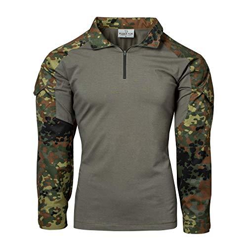 FLECKTEX® Combat Shirt Tropentarn 5FTD Flecktarn Schwarz Tactical Shirt Outdoor Kampfbluse Herren Langarm (5FTD Flecktarn, XXL)