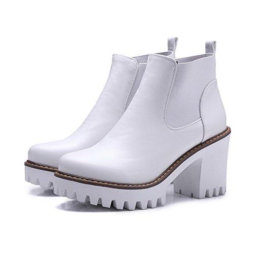 AalarDom Damen Weiches Material Rund Zehe Knöchel Hohe Ziehen Auf Hoher Absatz Stiefel Weiß