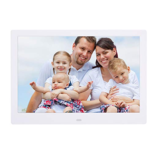 FSM88 Digitale Bilderrahmen, 13-Zoll-HD-Digitalfotorahmen mit LED-Breitbild-Digitalfotoalbum DPF-Player, geeignet für Familienhochzeits-Geburtstagsgeschenk,White