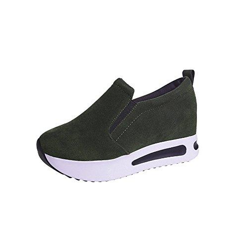 OHQ Chaussures AugmentéEs De Maille Occasionnelles Femmes à Semelles éPaisses Rouge Noir Blanc Augmenté Net Casual Respirant Mesh Slope ÉPais Plate-Forme Sneakers Homme Blanchenew (36, armée Verte-B)
