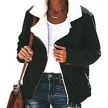 BLACKMYTH Mujer Casual Otoño Invierno Chaquetas Pana Cordero Patchwork Lapel Cremallera Manga Larga Ourwear