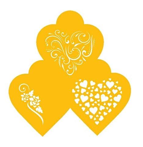 Designer Stencils C351 Contemporary Hearts Cookie Stencils, Beige/Semi-Transparent
