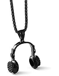 Cool in acciaio INOX oro argento retro DJ Boy cuffia CD Music fans ciondolo  charm catena 30c1bbf8c943