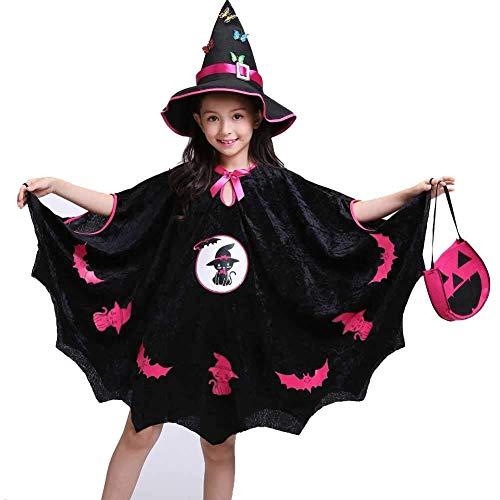 Hcxbb-b Halloween Kostüme, Mädchen Süße Fledermaus Katze Kostüm, Party Lose Kostüm Set, Kleid, Hut & Candy Bag, 4-10 Jahre Kinder (Farbe : Black, Size : - Süße Candy Bar Kostüm