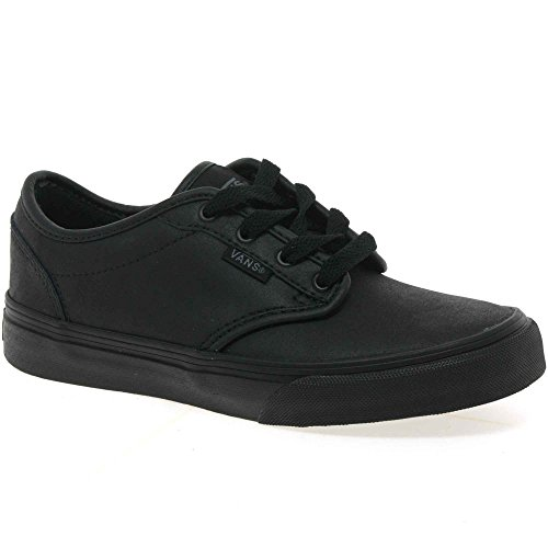 Vans Kids Atwood Y Black Leather School Shoes Trainers