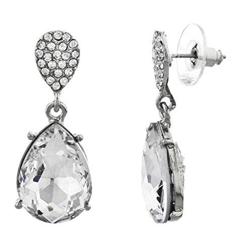 LUX Zubehör Silber Ton und Ebnen Kristall und Tropfenform Stein baumeln Ohrringe