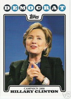 2008 Topps Campaign 2008 #HC Hillary Clinton - Democrat - Democratic Presidential Candidate Baseball Cards - MLB Baseball Trading Card in a Screw Down