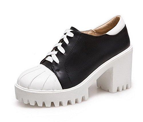 VogueZone009 Femme Couleurs Mélangées Pu Cuir à Talon Haut Rond Lacet Chaussures Légeres Noir