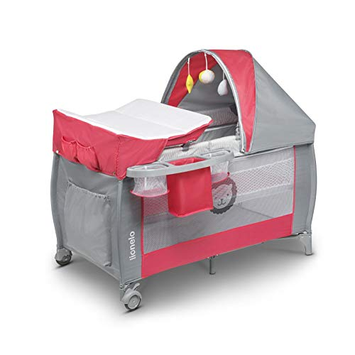 Lionelo Sven Plus - Cuna de viaje 2 en 1 para bebé desde el nacimiento hasta 15 kg, mosquitera, bolsa de transporte, plegable (rosa)
