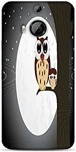 Snoogg Owl Sit On Branch With Baby Owl Designer Protective Back Case Cover For HTC M9 Plus