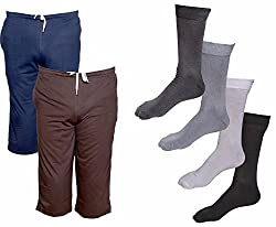 IndiWeaves Mens Combo Pack (Pack of 2 Cotton Mens 3/4 Pants /Capri and 4 Cotton Socks)-Multiple Color_Size-40