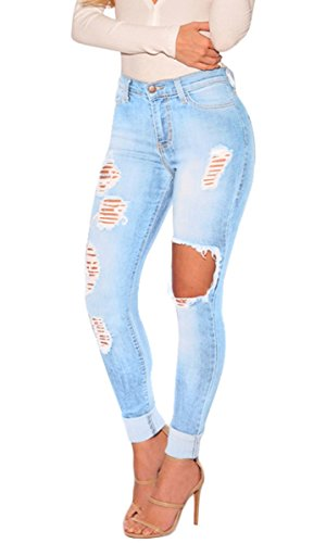 SHELERS Damen Baumwoll Abnehmen Butt Lift Distressed Jeans Skinny Denim Hose (Baumwolle Distressed Jeans)
