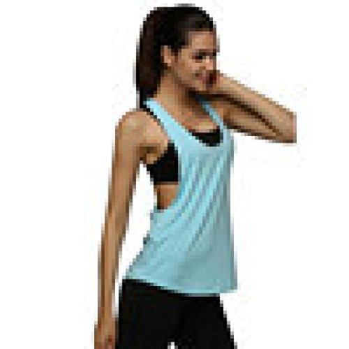 BHYDRY Frauen Sommer Sexy Lose Gym Sport Weste Trainingslauf(S,Hellblau)