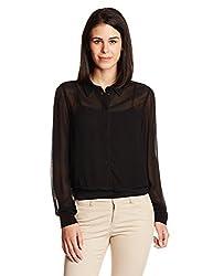 ONLY Womens Button Down Shirt (15104245_ Black_38)