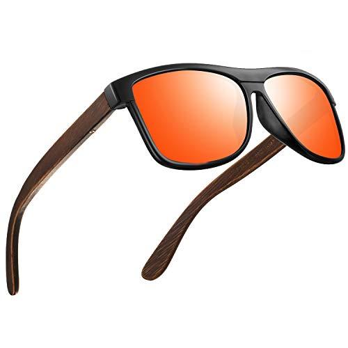 FEIDU Sonnenbrille herren holz Zwei Stile zur Auswahl - Polarisierte sonnenbrille holz Klassischer Stil Und Einfacher Stil Unisex FD 9003H (Orange-Einfacher, 50)