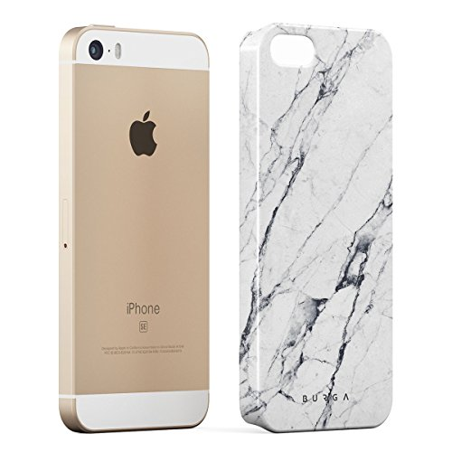 Cover iPhone 5 / 5s / SE Nero Marmo, BURGA Black Marble Design Sottile, Guscio Resistente In Plastica Dura, Custodia Protettiva Per iPhone 5 / 5s / SE Case Satin White