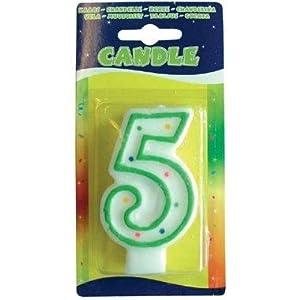 Folat - Vela con número 5 para decoración de cumpleaños