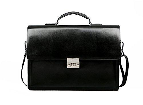 Borsa A Tracolla Da Uomo Yy.f Borsa Diagonale Cartella Da Lavoro Con Chiusura A Combinazione Borsa Per Laptop Sottile Classica In Pelle (nero E Marrone) Black