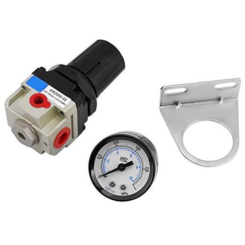 Luftfilterregler, AR2000-02 G1 / 4 Filterdruckregler Luftmanometer Doppelwaage Überlauf mit Messuhr Manometer -