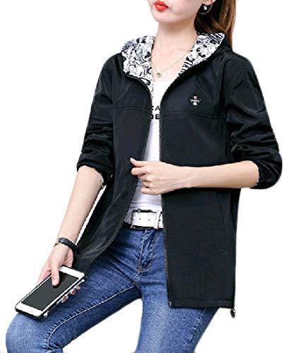 Andopa Damen plus size reversible hooded zip-up jacke trench coat L Schwarz Plus-size-reversible Coat