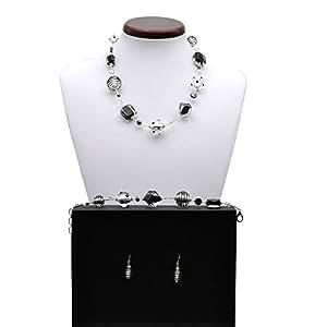 Parure Jo-Jo noir et Argent collier simple tour Veritable bijoux en verre de Murano de Venise