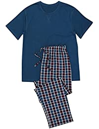 M&Co Men's T-Shirt and Checked Trouser Pyjama Set 100% Cotton
