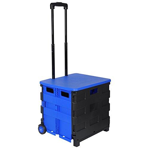 WOLTU EW4802bl Einkaufswagen klappbar Einkaufstrolley Klappbox Shopping Trolley Faltbox Transportwagen Mit Deckel bis 35kg Schwarz-Blau