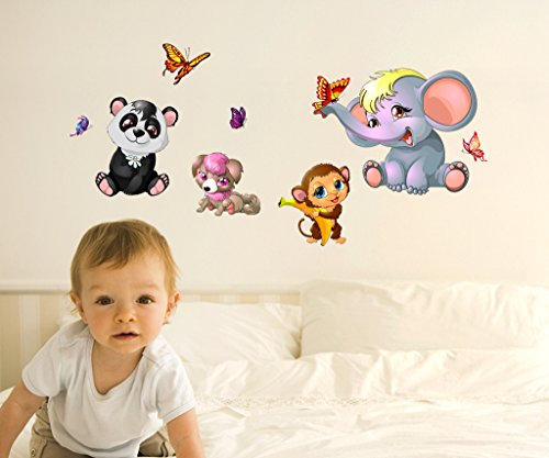 Decals Design 'Animals Cute Side Including Butterflies Monkey Elephant' Wall Sticker (PVC Vinyl, 50 cm x 70 cm x 1 cm),Multicolour