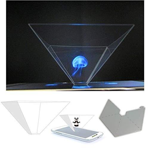 GREEN24 purital® 3D Hologramme Pyramide de Projection d'écran pour téléphone Portable Smartphone et Tablette - Laser Holographic 3er Set Smartphone Transparent