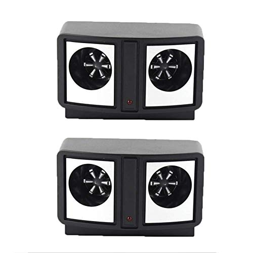 2 Pcs Electronic Ravageur Répulsif Maison Entrepôt Dual-Audio Ultrasonique Répulsif Super Interférence Lecteur Away Mouse Protection De L'environnement-14 * 8.2 * 6.8 Cm [Classe Énergétique A],Black