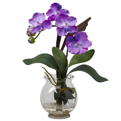 Fluted Vase (Nearly Natural 1276-PP Mini Vanda with Fluted Vase Silk Flower Arrangement, Purple by Nearly Natural)