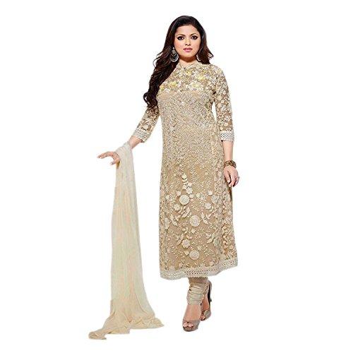 Aryan Fashion Women Net Anarkali Semi-Stitched Salwar Suit (Tghvd10702_Beige _Free Size)