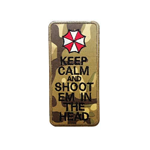Cobra Tactical Solutions Besticktes Patch Keep Calm & Shoot Em In The Head mit Klettverschluss für Cosplay/Airsoft/Paintball für Taktischen Rucksack Kleidung (Camo)