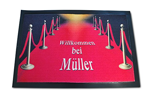 Die edle VIP Fussmatte - Red Carpet Roter Teppich mit Ihrem Wunschnamen